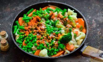 Рагу с курицей, овощами и грибами